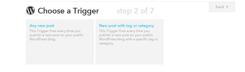 Choose a Trigger any new post - IFTTT