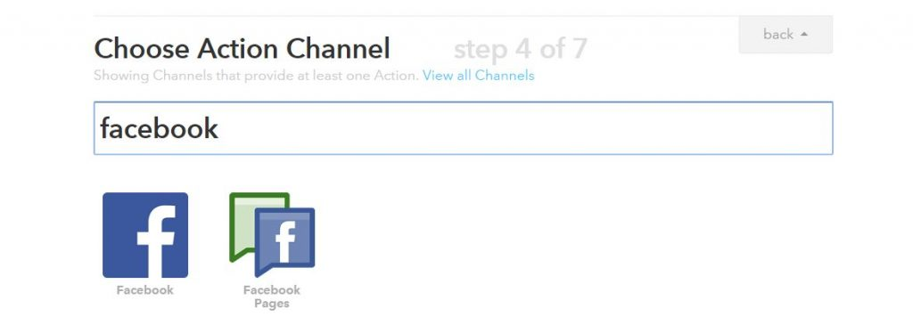 chose action channel facebook - IFTTT