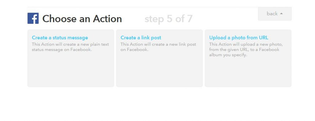 Choose an Action - Create a link post - ifttt