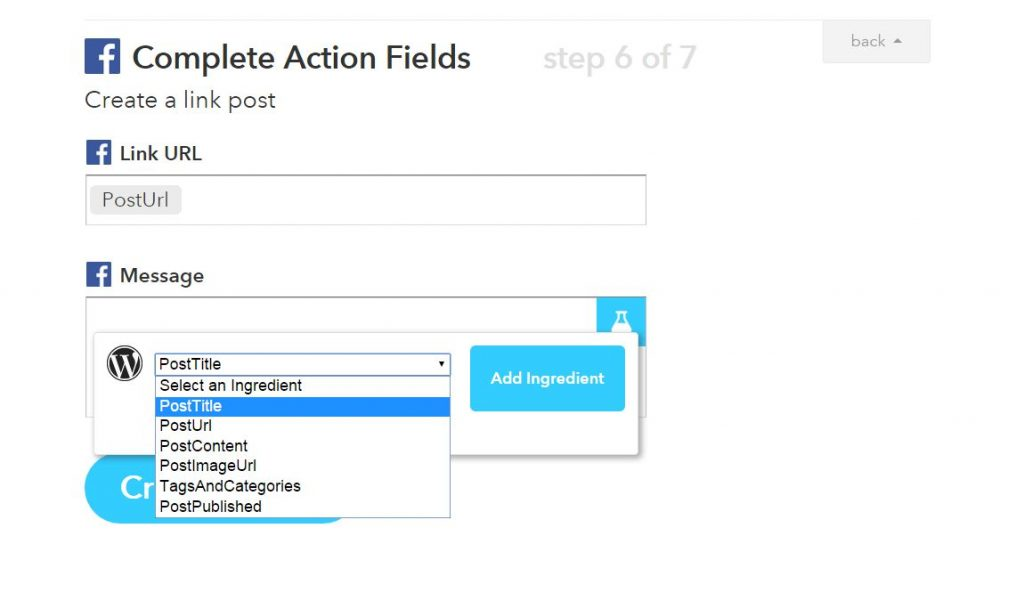 complete action fields - ifttt