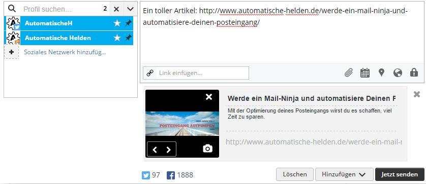 Hootsuite - Dashboard und posten in mehrere Netzwerke